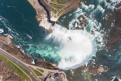 An Aerial View Looking Down at Horseshoe Falls