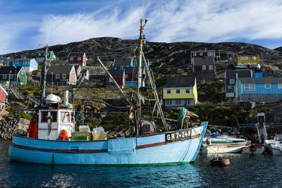 Fishing Boats in the Quiet Harbor of a Village on an Arctic Island
