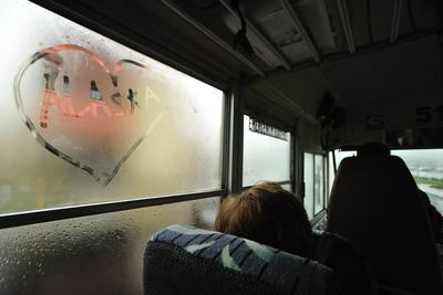 A Heart with the Word Alaska Written in It, on a Steamy Bus Window