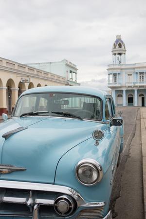 A Vintage Chevrolet in Plaza Jose Marti, Cienfuegos, Cuba