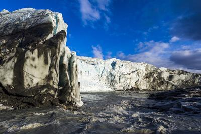 Erosion from Ice Against Rock Deposits Silt and Soil Sediment, Face of a Glacier Fracture Zone