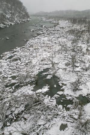 Looking North from Chain Bridge at the Potomac River in Winter