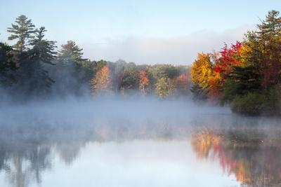 Mist Rises Off the Water on an Autumn Morning