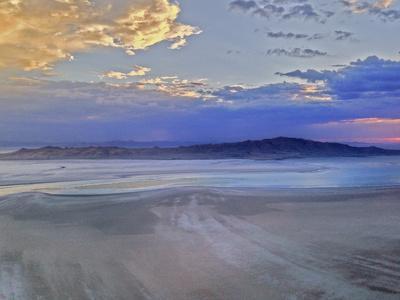 A Sunset Glows over Great Salt Lake and Antelope Island Near Salt Lake City, Utah