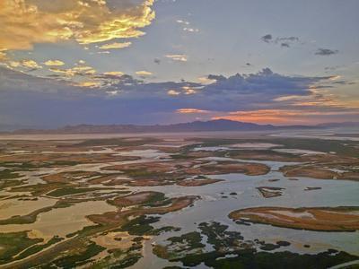 A Sunset Glows over the Marshy Shoreline of Utah's Great Salt Lake, Near Salt Lake City