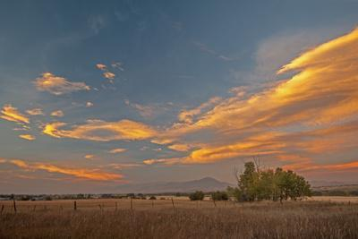 Lenticular Clouds Glow in a Sunset over Pastures in Montana's Gallatin Valley, Near Bozeman