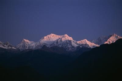 Sunrise on Kabru, Center, and Kanchenjunga, Right, the World's 3rd Highest Mountain