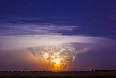 A Tornadic Supercell Thunderstorm, over 80 Miles Away, with a Large Tornado Touching Ground
