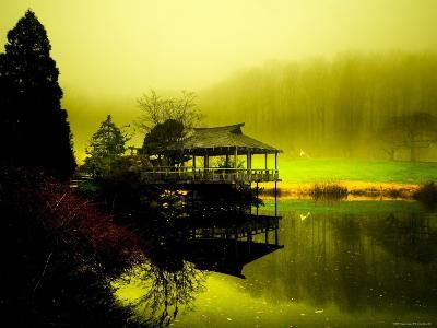 Japanese Gazebo with Views of Hills and Water