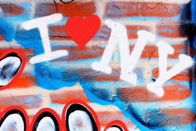 I Love New York Graffiti on a Red Brick Wall, Manhattan, New Yor