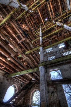 Abandoned Building Interior in Winter