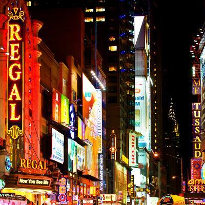 Urban Scene by Night at Times Square, Buildings by Night, Manhattan, New York
