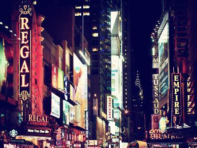Urban Scene by Night at Times Square, Buildings by Night, Manhattan, New York, US, Vintage Colors