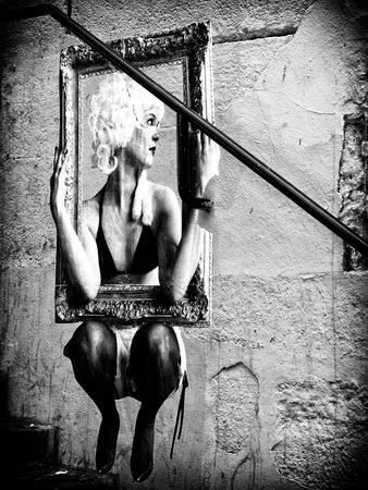 Street Art, Murals Style, French Artist, Paris, France, Black and White Photography
