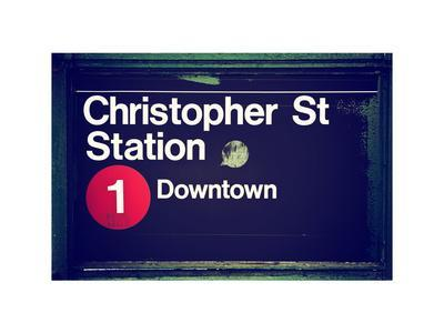 Subway Station Sign, Christopher Street Station, Downtown, Manhattan, NYC, White Frame
