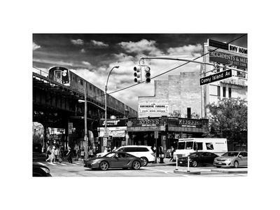 Urban Scene, Coney Island Av and Subway Station, Brooklyn, Ny, US, White Frame
