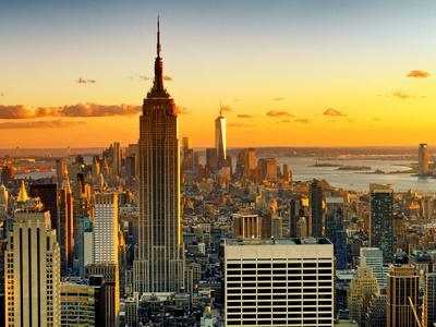 Sunset Skyscraper Landscape, Empire State Building and One World Trade Center, Manhattan, New York