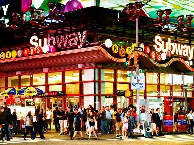 Urban Lifestyle Scene, Subway Station at Times Square, 42St, Manhattan, NYC, US, USA, Sunset Colors