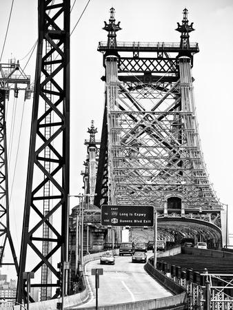 "Road Traffic Exit on ""59th Street Bridge"" (Queensboro Bridge), Manhattan Downtown, NYC"