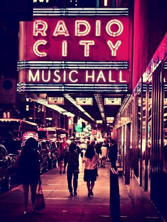 Urban Scene, Radio City Music Hall by Night, Manhattan, Times Square, New York, White Frame