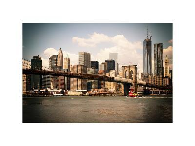 Skyline of NYC with One World Trade Center and East River, Manhattan and Brooklyn Bridge, Vintage