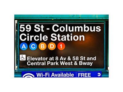 Subway Station Signs, 59 Street Columbus Circle Station, Manhattan, NYC, White Frame