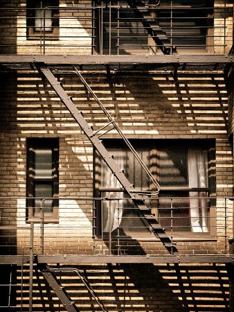 Fire Escape, Stairway on Manhattan Building, New York City, United States, Vintage