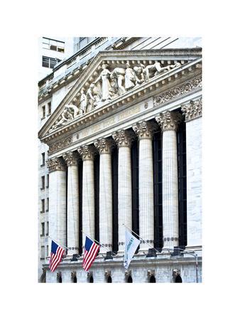 The New York Stock Exchange Building, Wall Street, Manhattan, NYC, White Frame