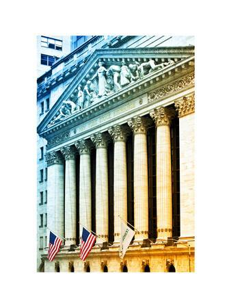 The New York Stock Exchange Building, Wall Street, Manhattan, NYC, White Frame, Colors Photography