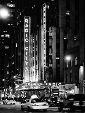 Radio City Music Hall and Yellow Cab by Night, Manhattan, Times Square, NYC, USA
