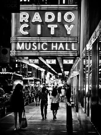 Urban Scene, Radio City Music Hall by Night, Manhattan, Times Square, New York, Classic