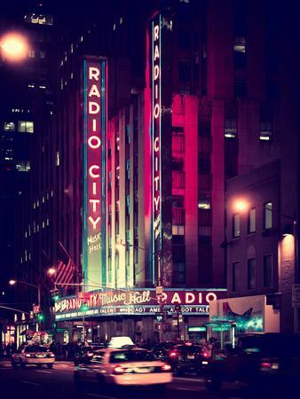 Radio City Music Hall and Yellow Cab by Night, Manhattan, Times Square, NYC, Old Vintage Colors
