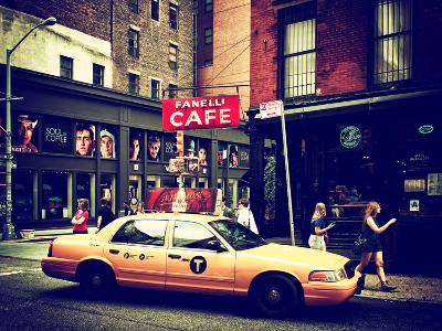 Urban Scene, Yellow Taxi, Prince Street, Lower Manhattan, New York City, United States, Vintage
