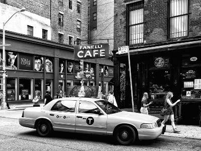 Urban Scene, Yellow Taxi, Prince Street, Lower Manhattan, NYC, US, Black and White Photography