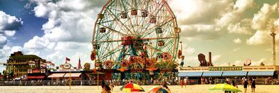 Panoramic View, Vintage Beach, Wonder Wheel, Coney Island, Brooklyn, New York, United States