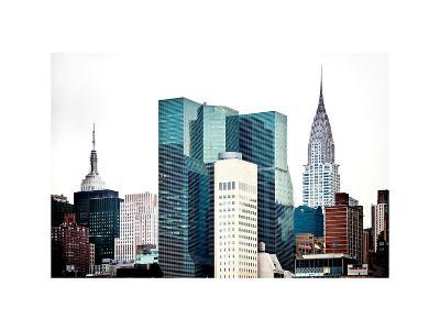 Empire State Building and Chrysler Building Tops, Manhattan, NYC, White Frame