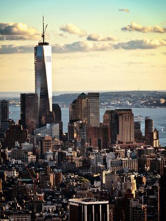 Landscape Sunset View, One World Trade Center, Manhattan, New York, United States, Color Sunset