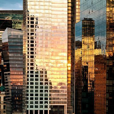 Reflection of the Sunset on the Windows of Buildings at Manhattan, Times Square, NYC, US, USA