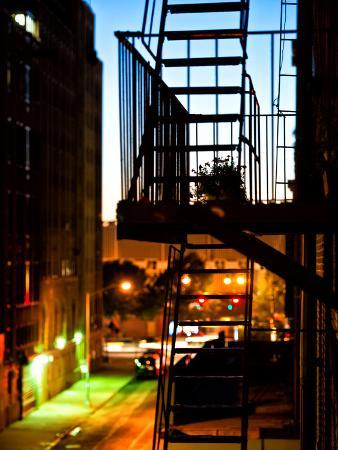 Stairway by Night, Fire Escapes, Street Manhattan, New York, United States