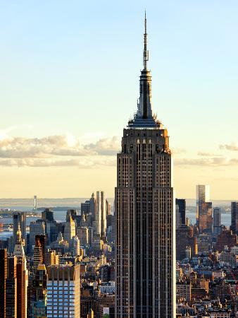 Empire State Building from Rockefeller Center at Dusk, Manhattan, New York City, United States