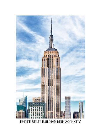 Empire State Building, White Frame, Full Size Photography Name, Manhattan, New York -United States