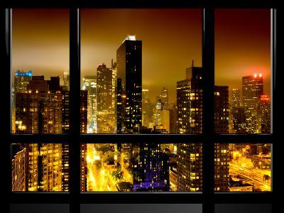 Window View, Urban Landscape by Night, Misty Red Color View, Times Square, Manhattan, New York