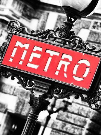 Classic Art, Metro Sign at the Louvre Metro Station, Paris, France