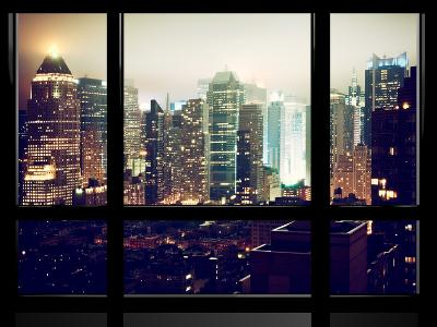 Window View, Urban Landscape by Night, Misty View, Times Square, Manhattan, New York