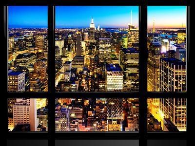 Window View, Landscape Manhattan City, Empire State Building, Manhattan, New York City