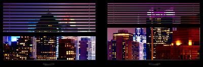 Window View with Venetian Blinds: Tops of Skyscrapers and Buildings at Times Square by Night