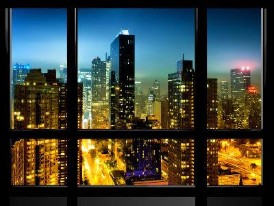 Window View, Special Series, Urban Landscape View by Night, Times Square, Manhattan, New York