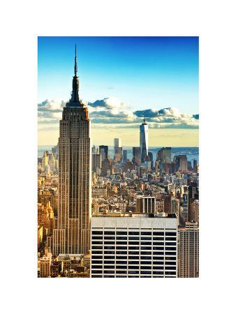 Sunset Landscape of the Empire State Building and One World Trade Center, Manhattan, NYC, Colors