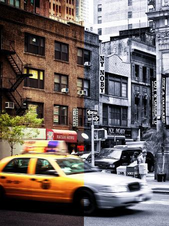 Urban Scene, Yellow Taxi, 34th St, Downtown Manhattan, New York, United States, Dual Colors