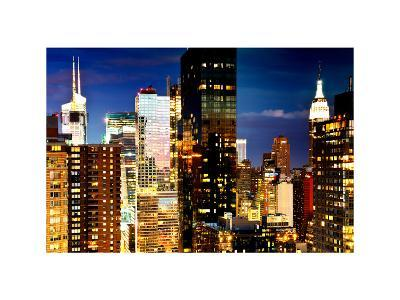 Times Square with Empire State Building, Manhattan, NYC, White Frame, Dual Colors